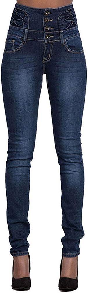 Vaqueros Talla Grande Mujer Flacos De Cintura Alta Leggings Elásticos Skinny Slim Pantalones para Mujeres de Mezclilla Pantalón Delgado Bolsillo Leggins Jeans Vaqueros