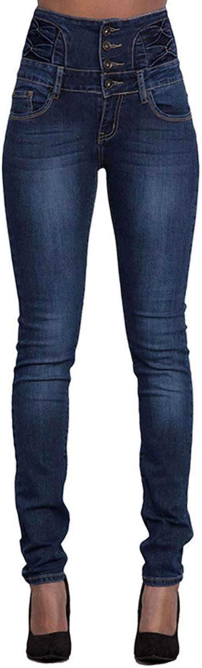 Mibuy Pantalones Vaqueros Mujer Elasticos Shaping Slim Flacos Jeans Vaqueros Mujer Tallas Grandes Altos Ajustados Largos Mujer Anchos Casual Straight Skinny High Waist Leggings Lookool Ro
