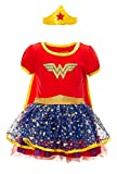 Warner Bros Woman Toddler Girls' Costume Dress with Gold Tiara Headband and Cape, Red (5T)