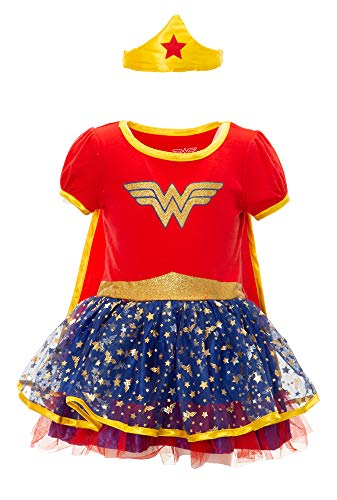 (Warner Bros. Wonder Woman Toddler Girls' Costume Dress with Gold Tiara Headband and Cape,(2T), Red, Blue and)
