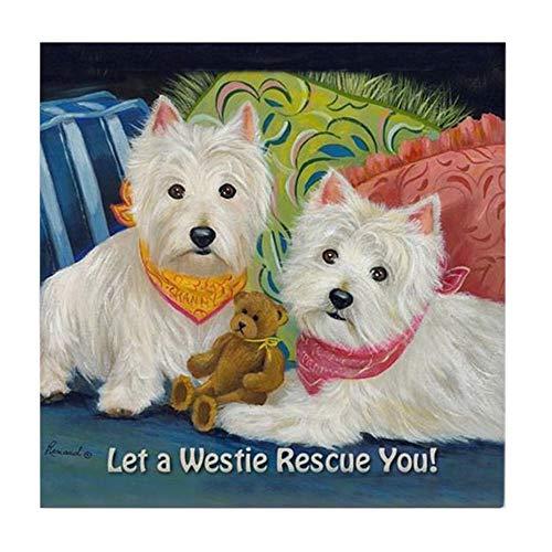 (CafePress Westie LET A Westie Rescue You! Tile Coaster, Drink Coaster, Small Trivet)
