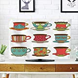 kitchen 67 brunch iPrint LCD TV Cover Lovely,Tea Party,Colorful Vivid Teacup Design Cartoon Drawing Style Breakfast Brunch Illustration Decorative,Multicolor,Diversified Design Compatible 47