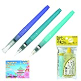 Kuretake Fude Water Brush Pen Bundle Set , Medium ( KG205-10 ) + Small ( KG205-20 ) + Flat ( KG205-70 ) + Brush Pen Set ( KG205-80 ) + Original 5 Colors Sticky Notes
