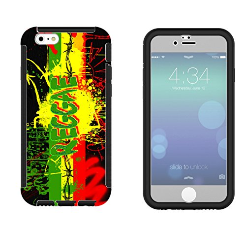 1077 - cool fun jamaican art reggae music rasta jamin weed high Design iphone 6 6S 4.7'' Full Body CASE With Build in Screen Protector Rubber Defender Shockproof Heavy Duty Builders Protective Cover
