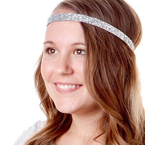 12adf580faff Hipsy 5pk Women s Adjustable NO SLIP Skinny Bling Glitter Headband Multi Gift  Pack (Silver