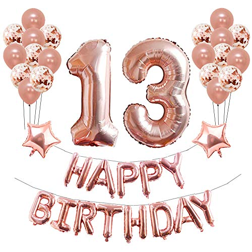 13th Birthday Party Decorations, Puchod 13th Foil Balloons Birthday Party Decorations Banner Supplies Set Rose Gold Confetti Balloons for Girls