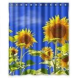 "Fresh sunflowers Good quality fabric Shower Curtain 60""(w)x72""(h)"