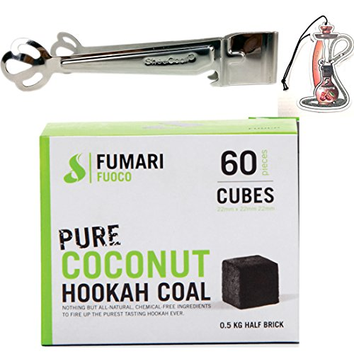 FUOCO 60 Medium CUBE COCONUT HOOKAH COAL BY FUMARI Shisha Natural Charcoal With Bonus Sheecool HangingTongs by Fumari