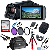 Canon Vixia HF R80 Wi-Fi 1080p HD Video Camera Camcorder + 32GB Card + Battery & Charger + Canon Camera Case + Spider Tripod + HD Filters
