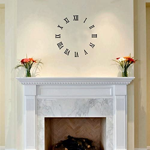 Katazoom Eye CATCHING Roman Numeral Wall Clock Removable Vinyl Decal – 22. Diameter – Black Wall Decals