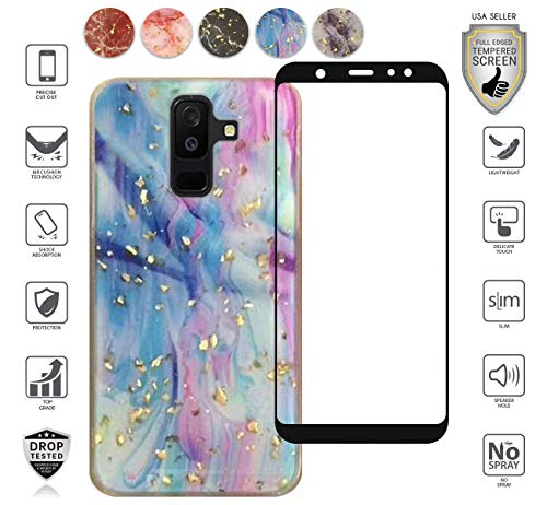 se, with Full Edged Tempered Glass Screen Protector, Marble Design with Frozen Glitter Bling Girly Dual Layer Trendy Beautiful Hybrid [Shockproof] (Colorful) ()