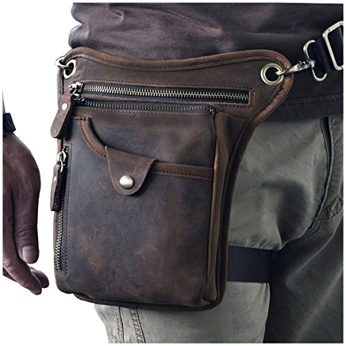 Le'aokuu Mens Genuine Leather Motorcycle Horse Riding Waist Pack Drop Leg Cross Over Bag (211-5 Dark Brown)