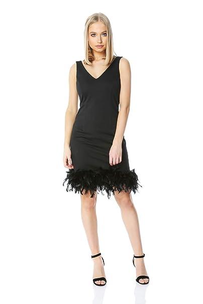 ff5e17b1a2dd Roman Originals Women Fitted Feather Hem Little Black Dress - Ladies  Evening Christmas Party V-Neck Plunge Glamorous Feminine Jersey Stretch  Mini Dresses ...