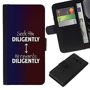 KLONGSHOP // Tirón de la caja Cartera de cuero con ranuras para tarjetas - BIBLIA lo buscan diligentemente - Samsung Galaxy A3 //