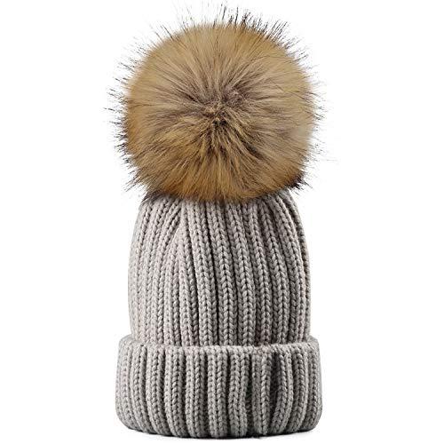 GAIBEST Winter Knit Hat Real Raccoon Fur Pom Pom Womens Girls Knit Beanie Hat Grey