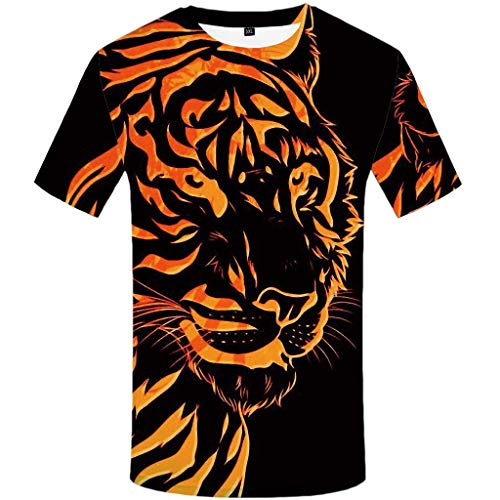 SFE Fashion Men's 7D Printed Funny Round Neck Short Sleeves Tiger Pattern T Shirt Blousecasual wear,Working Black]()