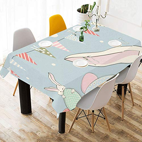 Open Table Cloth Rabbit with Bunting Flag Cotton Print Table Linens Cloth Cover Tablecloth for Kitchen Dining Room Decor 60x84 Inch Coffee Table ()