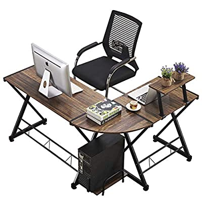 GreenForest L Shape Corner Computer Office Desk PC Laptop Table Workstation Home Office 3-Piece,Black with Black Glass