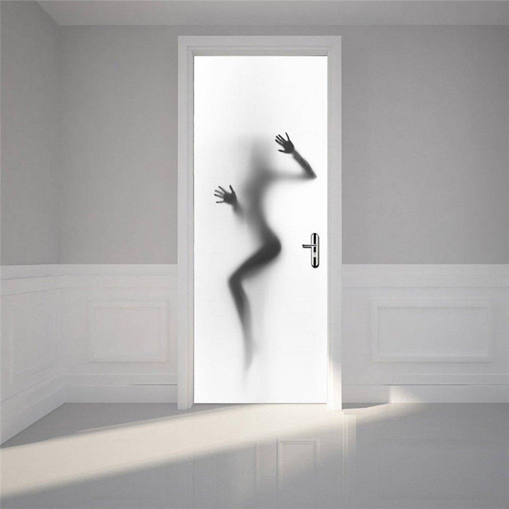 Amazon.com: Nalichy 3d Door Wall Stickers Murals Decal for Bathroom ...