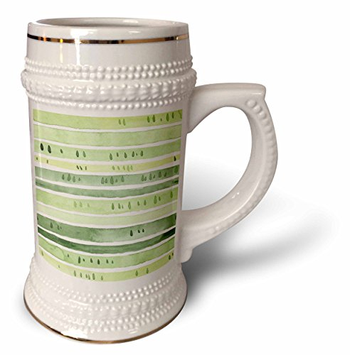 ugh - Patterns - Chic Watercolor Tear Drop Hand Painted Green Stripes Pattern - 22oz Stein Mug (stn_283445_1) ()