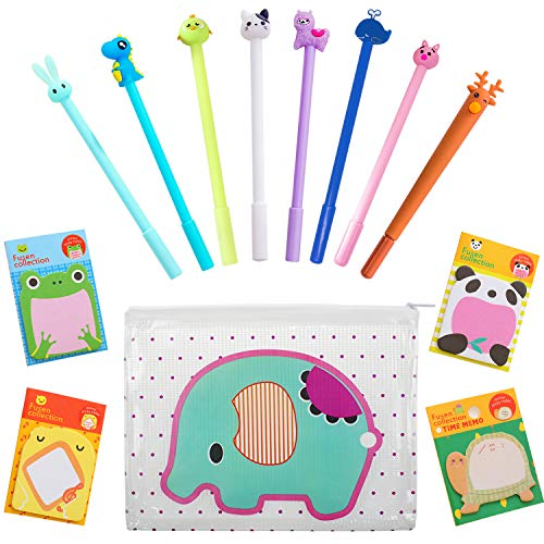 (Animal Pens Cute Stationery Set,Black Gel Pens Ballpoint Pen Smooth Writing Pen with Elephant Clear Pencil Case and Animal Sticky Tabs Fun Stationary Set)