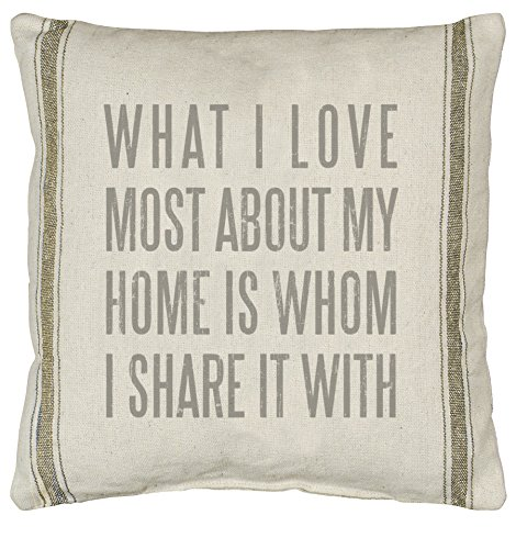 Primitives by Kathy 3-Stripe What I Love Pillow, 20 by 20-Inch, Tan