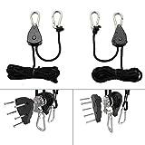 Pair of 1/8 Inch Heavy Duty Adjustable Grow Light Rope Hanger, Reinforced Metal Internal Gears, Loose-proof Design, 8-ft Long & 150lb Capacity