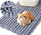 Vivaglory 3D Design Microfiber Cat Litter Mat, Soft on Sensitive Paws, 31½ x 19¾inch Large Soft Litter Box Mat, Ultra Absorbent and Waterproof,Machine Washable,Grey