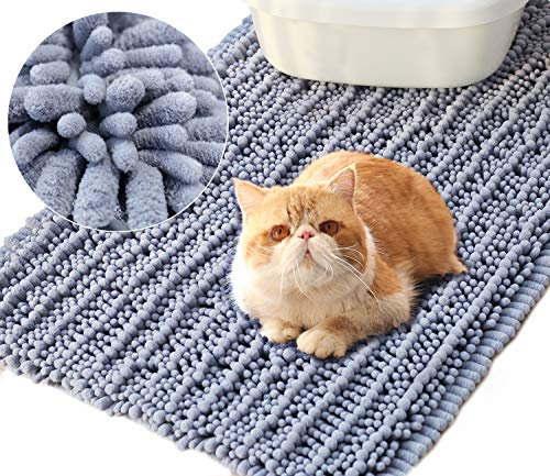 Vivaglory 3D Design Microfiber Cat Litter Mat, Soft on Sensitive Paws, 31½ x 19¾inch Large Soft Litter Box Mat, Ultra Absorbent and Waterproof,Machine Washable,Grey by Vivaglory