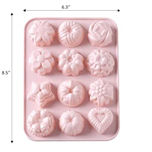 WARMWIND Silicone Flower Molds,Food Grade Cake,Candy,Jelly,Chocolate Molds,Non-Stick Cupcake Baking Molds for Party,Dishwasher Safe(Set of 4) (Color: Blue Pink, Tamaño: large)
