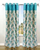 Homefab India Candy Modern 2 Piece Eyelet Polyester Window Curtain Set - 6ft, Blue
