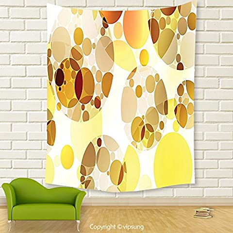 Vipsung House Decor Tapestry_Polka Dots Home Decor By Graphic Dots Relational Diameters Globes 50S Culture In Modern Artprint Decor Yellow Mustard_Wall Hanging For Bedroom Living Room - Italian Mustard
