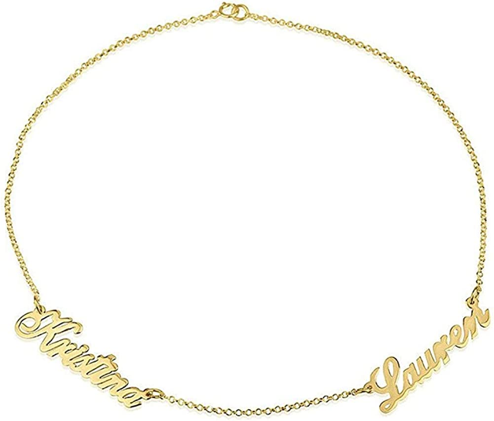 Personalized Double Name Bracelet Nameplate Anklet 925 Sterling Silver Customize Jewelry Custom Made with 2 Names