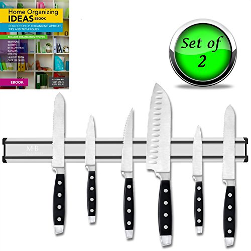 SET OF 2 - STRONG MAGNETIC KNIFE HOLDER, KITCHEN, GARAGE AND TOOL ORGANIZATION STRIP, 16 Inch, Stainless Steel and Aluminum, Includes Home Organizer eBook