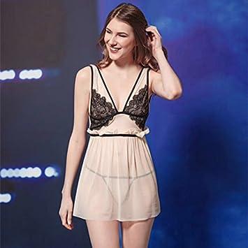 XBR - Pijama para Mujer Romántico con Encaje Transparente, F, Gules