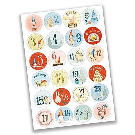 Adesivi per Creare e Decorare Papierdrachen 24 Adesivi con Numeri per Il Calendario dellAvvento Blu-Verde n 44