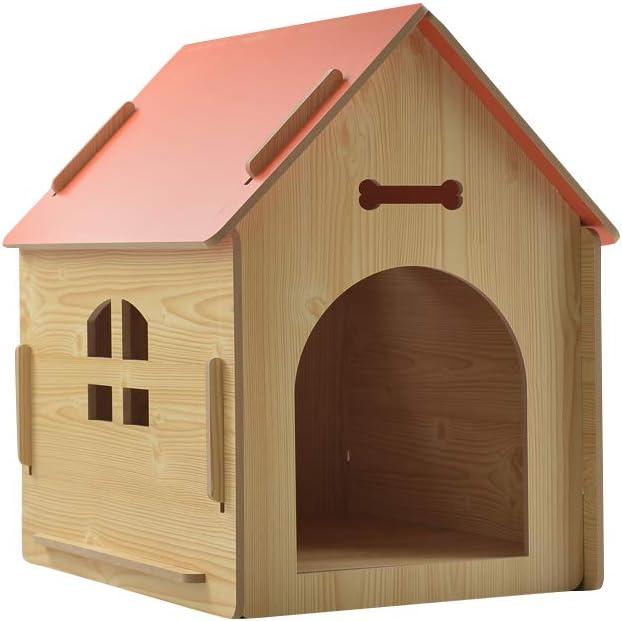 thematys Perrera de Madera para Perros I Casa para Perros para Uso Interior y Exterior I Lugar para Dormir a Las Mascotas I Resistente a la Intemperie y a los arañazos (M (51 x 40 x 52 cm), Style 2)