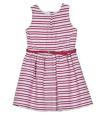 Nautica Girls' Big Patterned Sleeveless Dress, Medium Pink Scallop, Small (7)