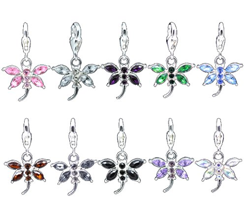 Colorful Crystal Dragonfly Charms Clip-On Lobster Clasp 1-1/4 inch (10 Charms)]()