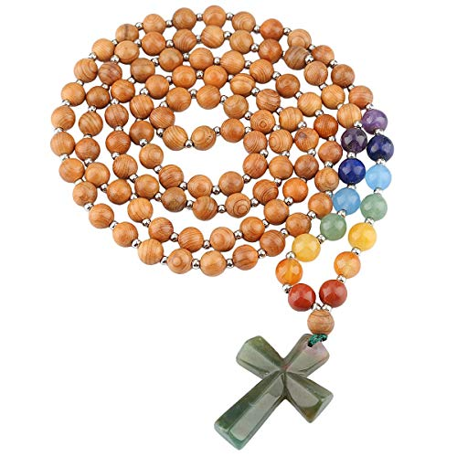 TUMBEELLUWA Yew Wood India Agate Cross Pendant Beaded Necklace for Men Women, Catholic Rosary Hand Knotted Necklace