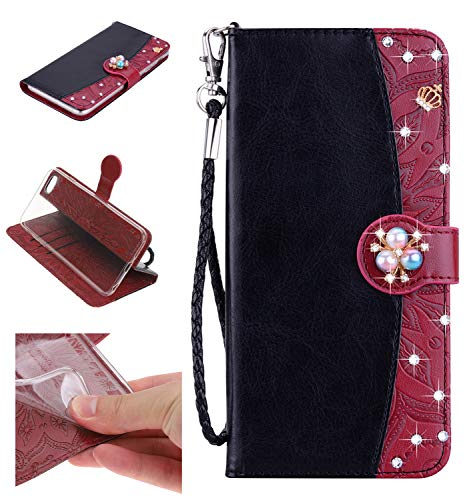 Shinyzone Leather Wallet Case for iPhone 6S/iPhone 6,Premium PU Embossed Sunflower Pattern with Diamond Pearl Magnetic,Transparent Soft TPU Flip Cover,Black and Brown ()