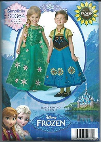Simplicity S0364 Disney Frozen Fever Costume Pattern Sizes