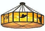 Meyda Lighting 11883 47.5''W Southwest Cactus, Longhorn & Hat Semi-Flushmount