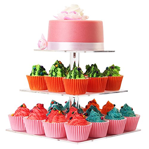 WSCS 3 Tiers Square Acrylic Cupcake Stand - Wedding Cake Stand - Dessert Display Stand (3 tier square)