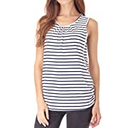 Smallshow Women's Maternity Nursing Tops Medium White Stripe