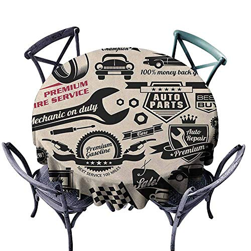Beige Jacquard Logo - ScottDecor Pattern Round Tablecloth Jacquard Tablecloth Retro,Car Repair Shop Logos Monochrome Car Silhouettes Best Garage in Town, Beige Dark Coral Black Diameter 60