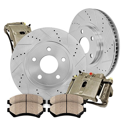 - FRONT OE [2] Calipers + [2] Drilled/Slotted Rotors + Quiet Low Dust [4] Ceramic Pads Kit