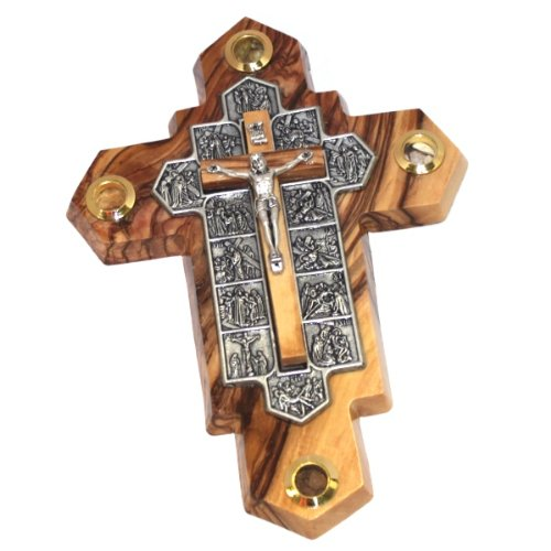 14 Stations Olive wood Crucifix with samples from the Holy Land (7 x 5 Inches) - Fourteen Stations Crucifix