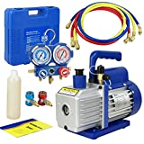Smartxchoices 3.5 CFM 1/4HP Single-Stage Rotary Vane Deep Vacuum Pump & 1/4HP HVAC A/C Refrigeration Kit AC Manifold Gauge Set R410a/R134a (#4)