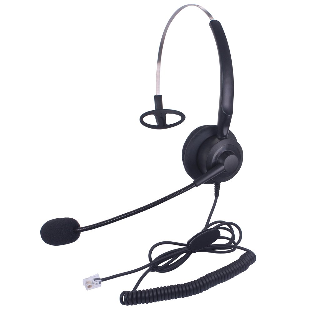 Audicom H200GXPA Mono Call Center Headphone Headset with Mic for Avaya 1608 1616 9620 9630 9640 9640G and 9650 and Altigen 805 Cortelco Fanvil C58 C58P C62 C66 Telephone IP Phones